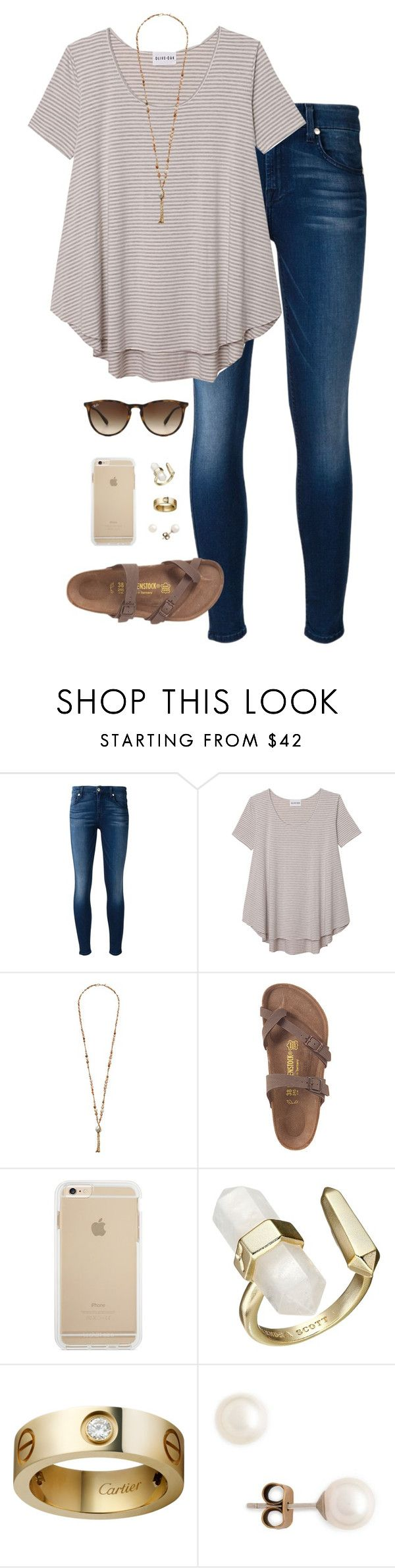 """""""this makes me so so happy"""" by tessorastefan ❤ liked on Polyvore featuring 7 For All Mankind, Olive + Oak, Chan Luu, Kendra Scott, J.Crew and Ray-Ban"""