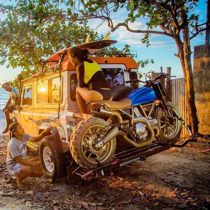 Sitting Pretty: @stkdsurfmoto's Ducati Defender Surf Scrambler featuring @carlilooo. : @joncysumulong shooting in La Union Philippines. #ducatiscrambler #scrambler #tracker
