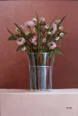Pink Daisies, Oil on Board