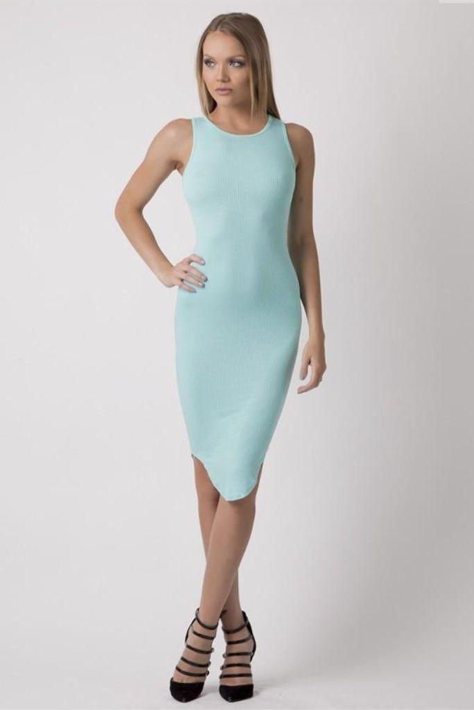 Fall Vibes Ribbed Midi Dress in Mint