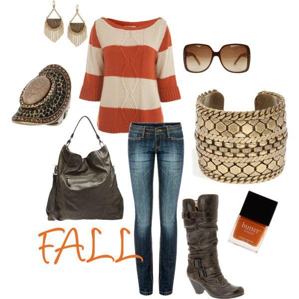 Love the boots & the orange!