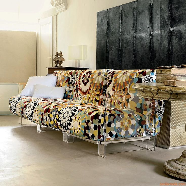 Pop Missoni Sofa | 3 seater sofa with transparent polycarbonate structure, upholstery in burnt tones Vevey fabric