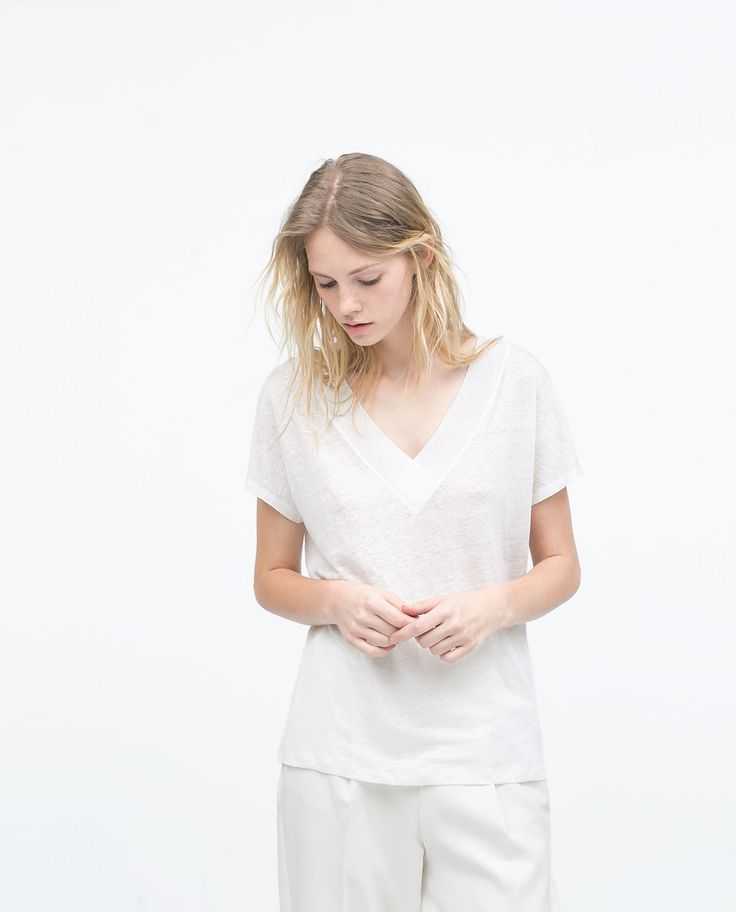 Image 2 of LINEN T-SHIRT from Zara