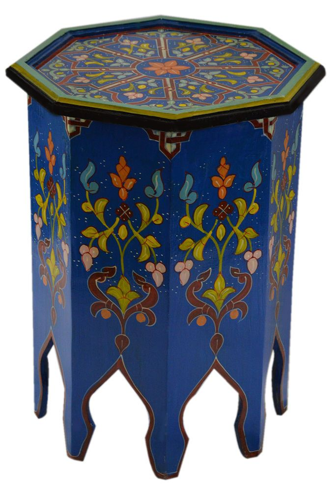 Details about Moroccan Handmade Wood Table Side Delicate Hand Painted Dresser Exquisite Blue