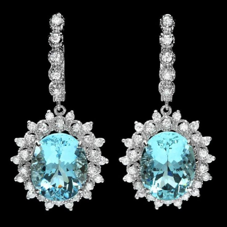 14k Gold 13ct Aquamarine 1.50ct Diamond Earrings, Lot Number: 0112, Starting Bid: $50, Auctioneer: Prestige Auction Galleries, Auction: Certified Exquisite Jewelry & Watch Sale!, Date: January 15th, 2017 GMT