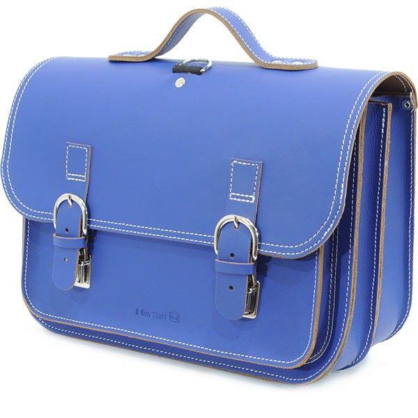 Own Stuff lederen boekentas 38cm - cobalt blauw