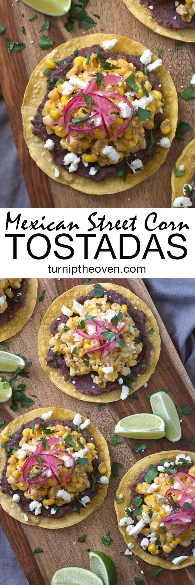 These simple, vegetarian and gluten-free tostadas are topped with a spicy black bean puree and piled high with Mexican street corn flavored with sour cream, chili, lime, garlic, and plenty of feta and chopped fresh cilantro.