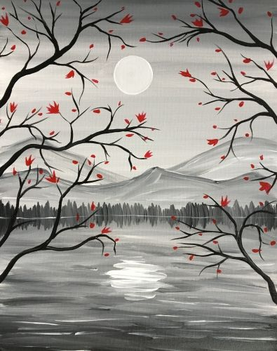 Red leaves on blach tree branch silhouette with sun and mountains. Paint Nite events near Orlando, FL, United States