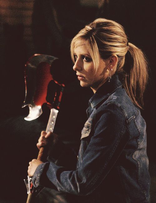 """Willow - """"Did you find out anything about the scythe?""""    Buffy - """"It slices, dices, and makes julienne preacher.""""    Giles - """"Caleb?""""    Buffy - """"I cut him in half.""""    Willow - """"All right!""""    Anya - """"He had that coming.""""    Xander - """"Hey, party in my eye socket, and everyone's invited. Sometimes I shouldn't say words."""""""