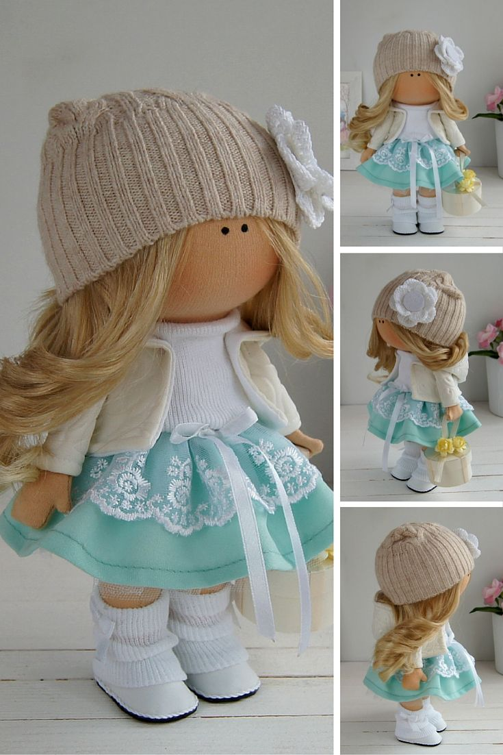 Fabric doll handmade Tilda doll Interior doll Art doll green brown pink colors Soft doll Cloth doll Textile doll by Master Maria Lazareva