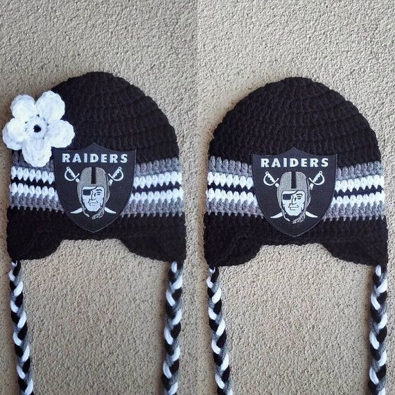 Oakland Raiders football crochet hat beanies for boy or girl hooked on Layla Hey, I found this really awesome Etsy listing at https://www.etsy.com/listing/238553011/adorable-oakland-raiders-inspired-at