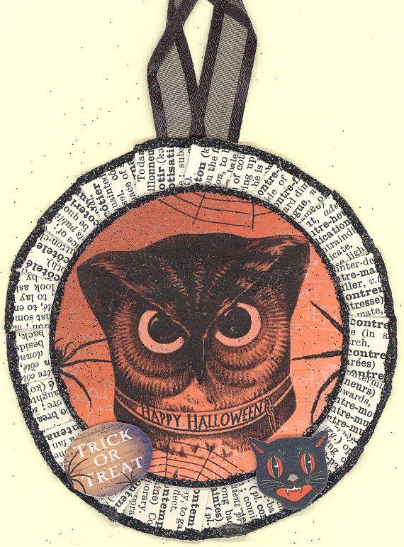 Owl Halloween ornament by ONEINTHREEWOMEN on Etsy