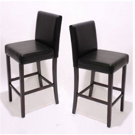 2 tabourets de bar, chaise snack M02, simili-cuir