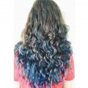 Rockabilly blue on natural, unbleached hair via ~  @irem_saka