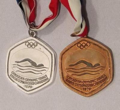 Nancy Garapick's medals from the Olympic trials, Montreal 1976. Nova Scotia Sport Hall of Fame collection, Halifax