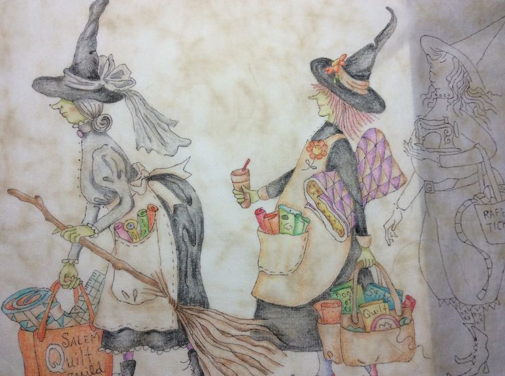 """Crayon tinting of the first and second witches on the first panel of Crabapple Hill design called """"The Mystery of the Salem Witch Quilt Guild""""."""