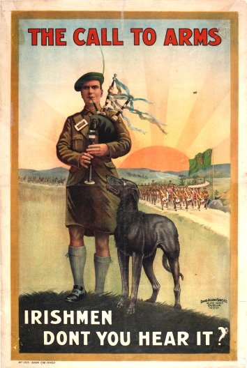 WW1 Irish recruiting poster--the pipes the pipes are calling...