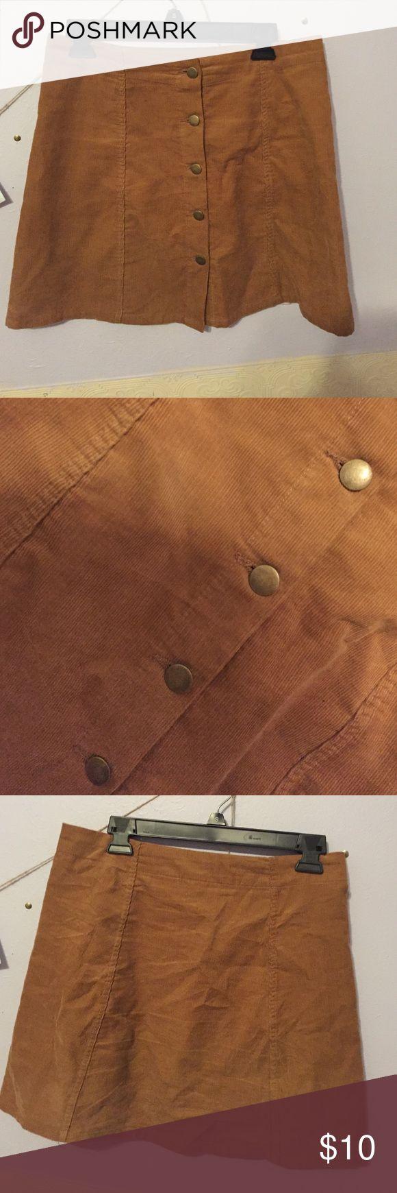 Mustard corduroy button down skirt Size M worn twice button mustard yellow skirt Target Skirts Mini