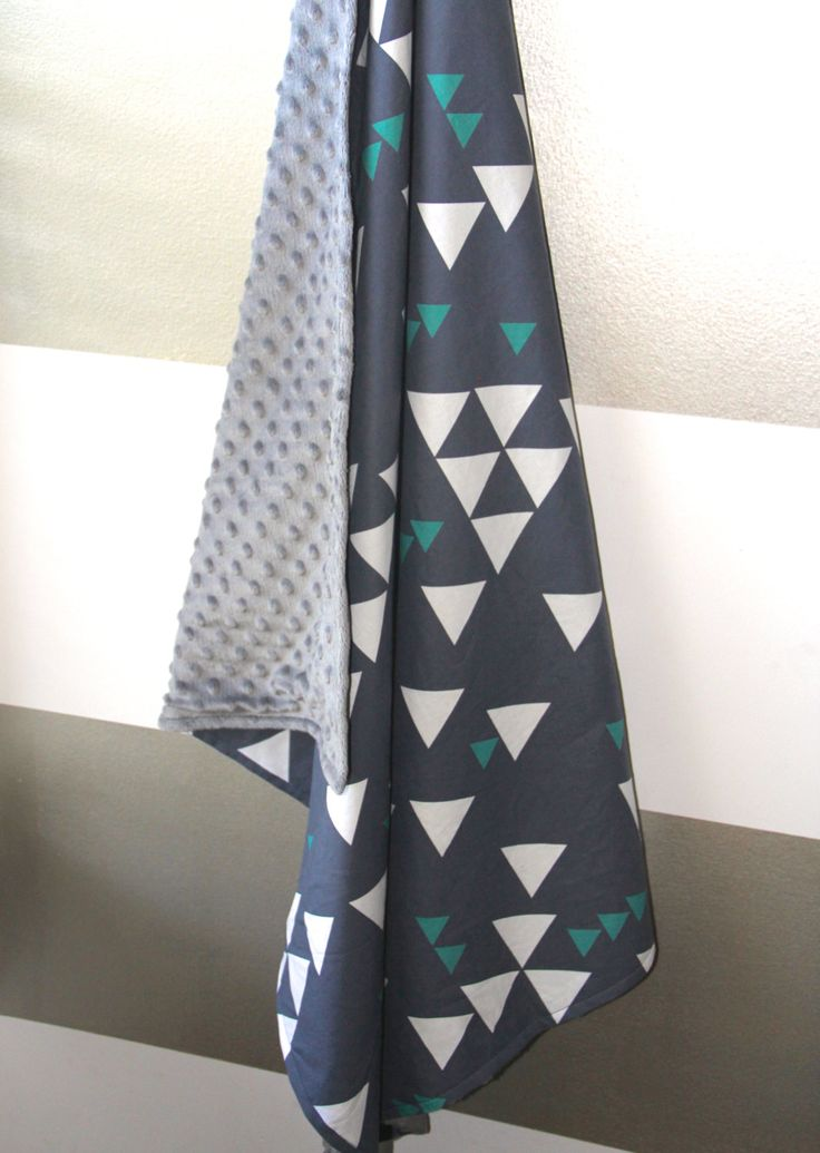 Navy triangles minky baby blanket - blue teal emerald white charcoal gray grey - geometric nautical - modern boy nursery - baby shower gift by WilderAndBean on Etsy