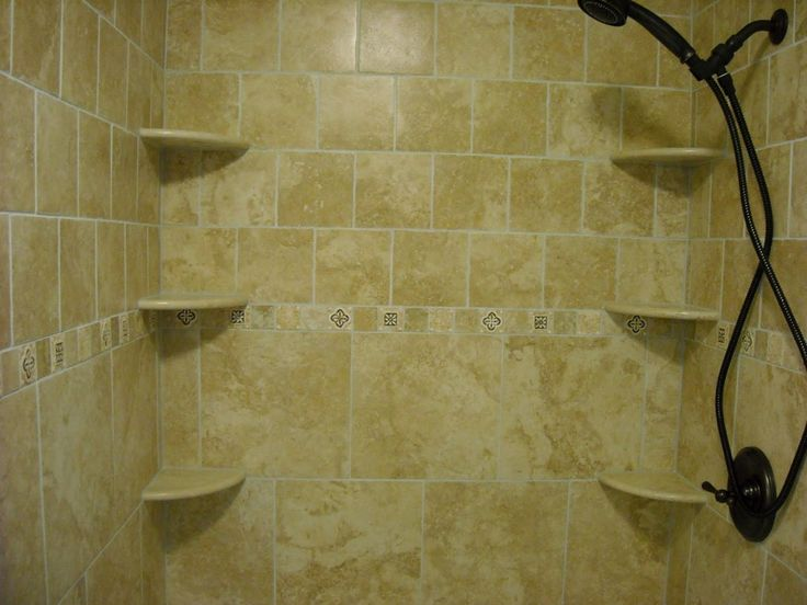 Tile Shower With Corner Shelves Popular Ideas Shower