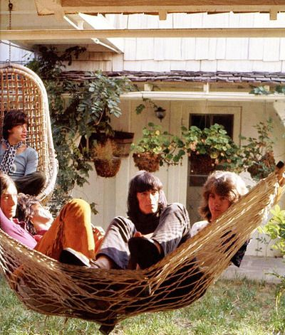 Mick Jagger, Charlie Watts, Keith Richards, Bill Wyman, Mick Taylor - Stephen Stills' house in Laurel Canyon Hollywood LA