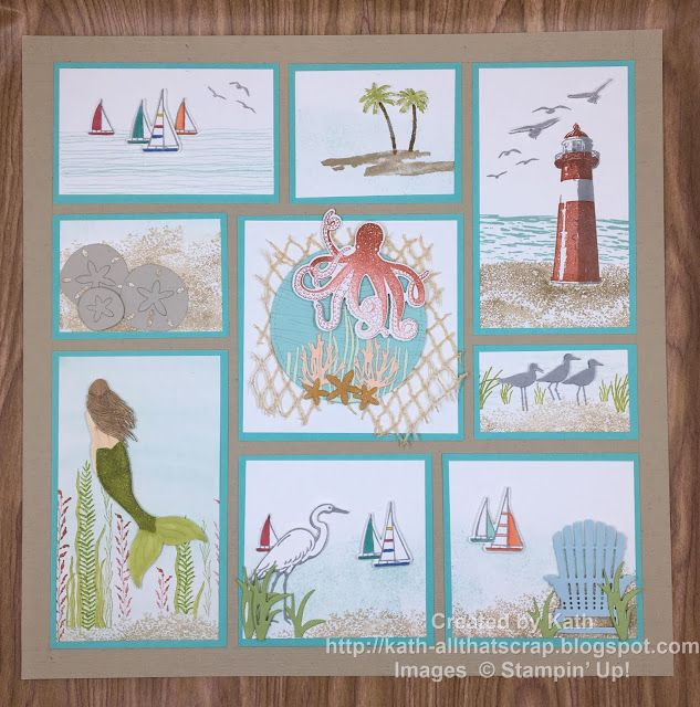 Created By Kath Beach Themed Sampler Box Frame Art Cards Handmade Paper Craft Projects