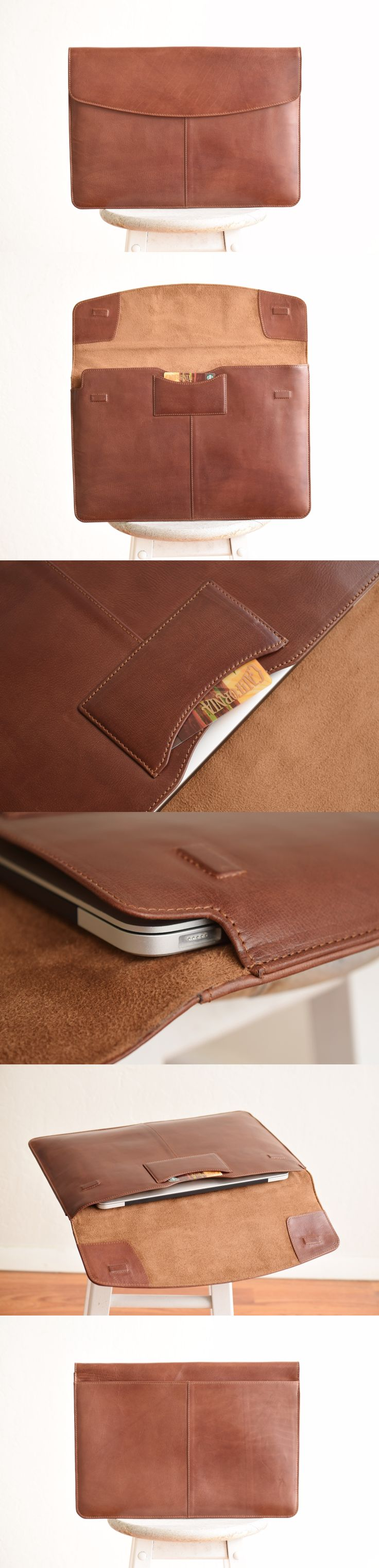 """This rich vegetable tanned leather laptop sleeve by #ERA81 for 13""""-15"""" laptops is a perfect companion for your daily work wardrobe. Follow the link to see all the colors available!"""