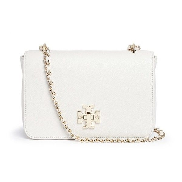 Tory Burch 'Mercer' adjustable leather shoulder bag ($540) ❤ liked on Polyvore featuring bags, handbags, shoulder bags, white, white handbags, leather purse, white leather shoulder bag, genuine leather handbags and white purse