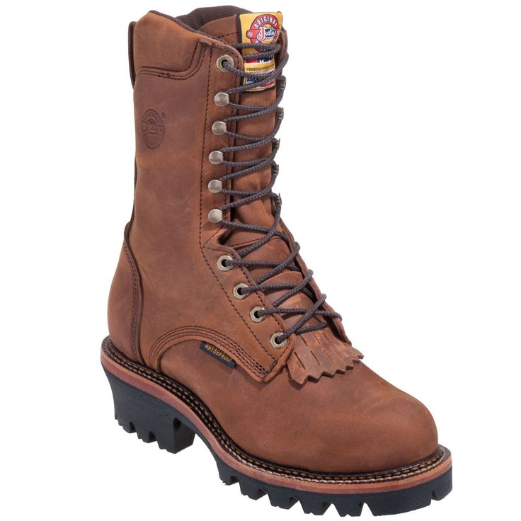 Justin Boots Men's 447 J Max Brown Waterproof EH Steel Toe Logger Boot