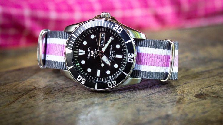 Seiko with pink nato strap