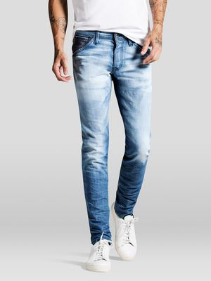 Italian-made slim fit jeans with a well-in look - Faded with