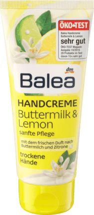 Balea Handcreme Buttermilk & Lemon. Sanfte Pflege mit dem frischen Duft nach Buttermilch und Zitrone. Mit Balea erleben Sie das zarte Gefühl rundum...