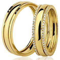 Aliança com Brilhante Polida Anatômica | Aliança Ouro BRUNER | Aliança de casamento com Brilhantes | Alianças Anatômicas | RDJ Jóias