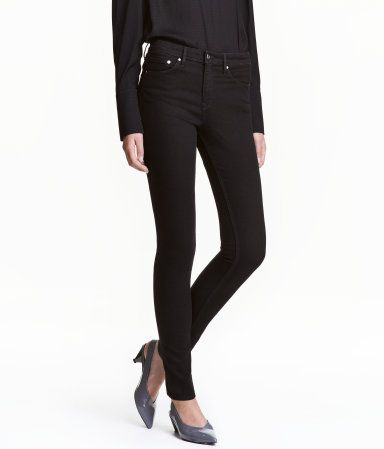 Skinny Regular Jeans | Svart denim | DAM | H&M SE
