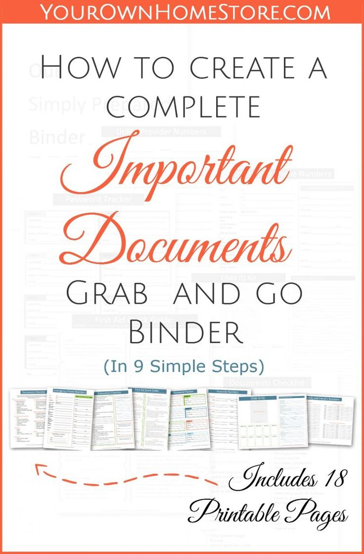 Create an important documents grab and go binder print for Important family documents binder