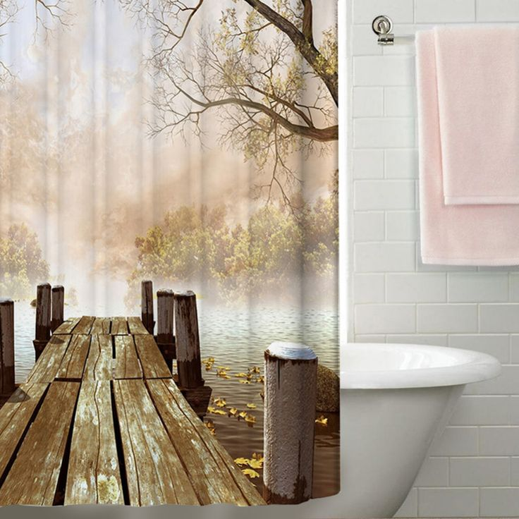 Waterproof Polyester Yellow Shower Curtain Fall Wooden Bridge Lake Nature Country Rustic Curtains Bathroom Decor Bath Art Gifts