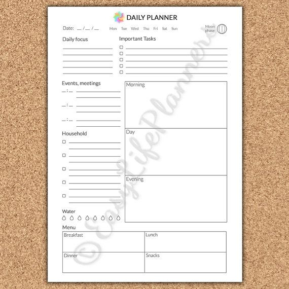 Filofax A5 Daily Planner Printable A5 Inserts Daily Agenda ...