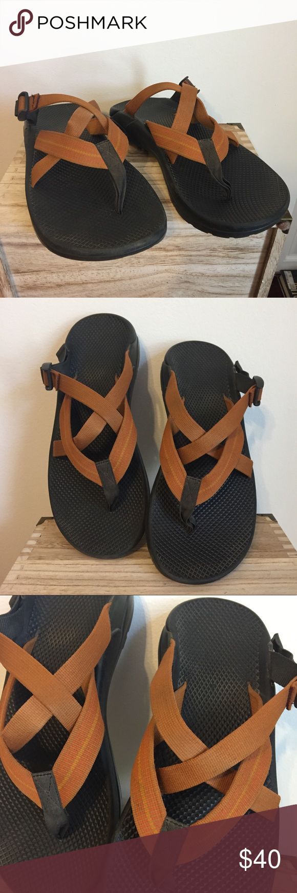Men's Chacos flip-flops Chaco flip-flops, orange straps, black soles. These have been worn a lot but they're still in good condition. No tears in the straps and soles are still good. Chaco Shoes Sandals & Flip-Flops