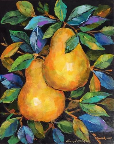 """Daily+Paintworks+-+""""Golden+Pears""""+-+Original+Fine+Art+for+Sale+-+©+Nancy+F.+Morgan"""