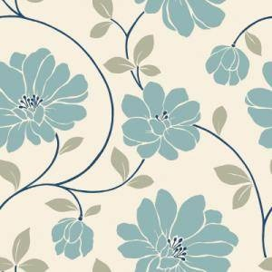 Definitely not sold on this idea, but it's a thought. - Blue and Cream Large Scale Retro Floral Trail Wallpaper  The Wallpaper Company