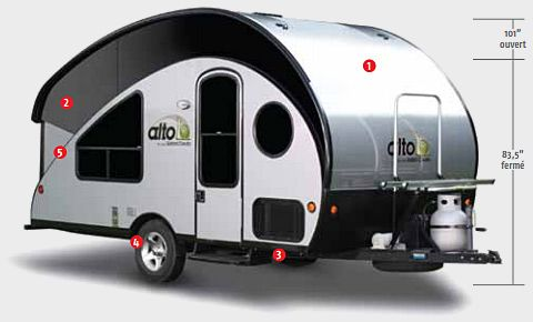 Alto Travel Trailer R-1723 by Safari Condo | Includes bathroom/shower and expandable roof.