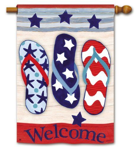 """Patriotic Flip Flops Double-Sided Standard Flag by BreezeArt. Save 4 Off!. $24.99. 28"""" x 40"""" Premium Flag with 2-sided Message. The message on this flag reads correctly on both sides. Made of our exclusive SolarSilk® 600 denier polyester for greater durability, yet they have a softer, silkier feel for better drape and movement."""