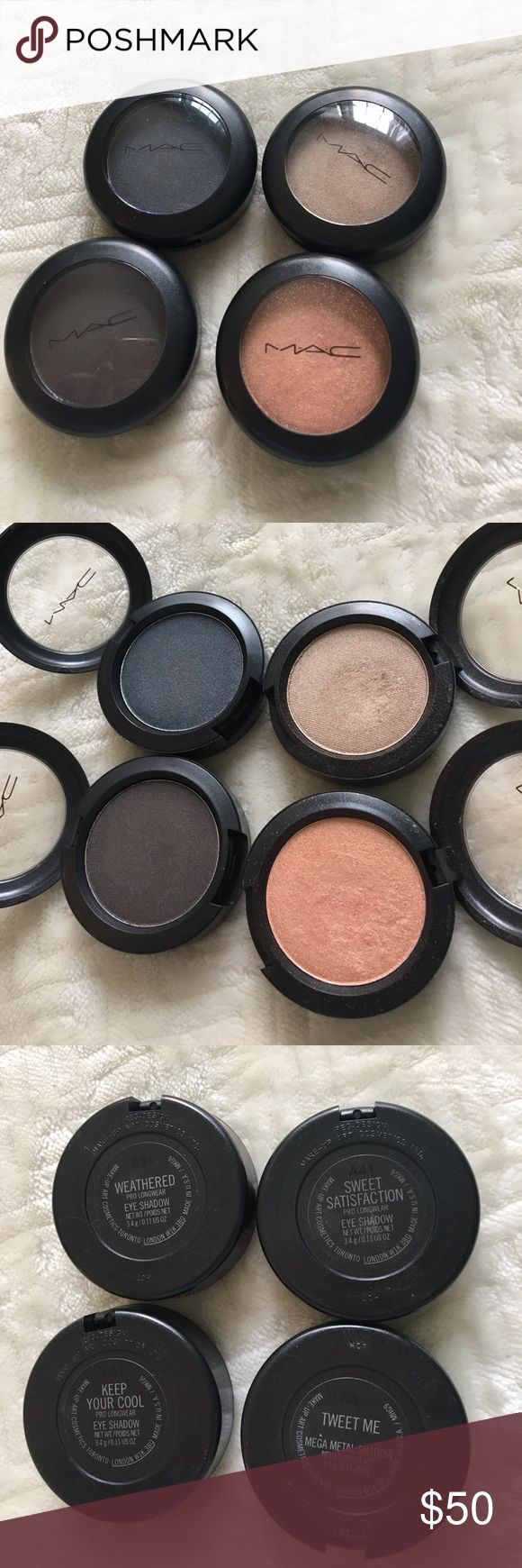 MAC pro longwear shadows Four pro longwear shadows used lightly. Comes with free makeup bad and samples MAC Cosmetics Makeup Eyeshadow