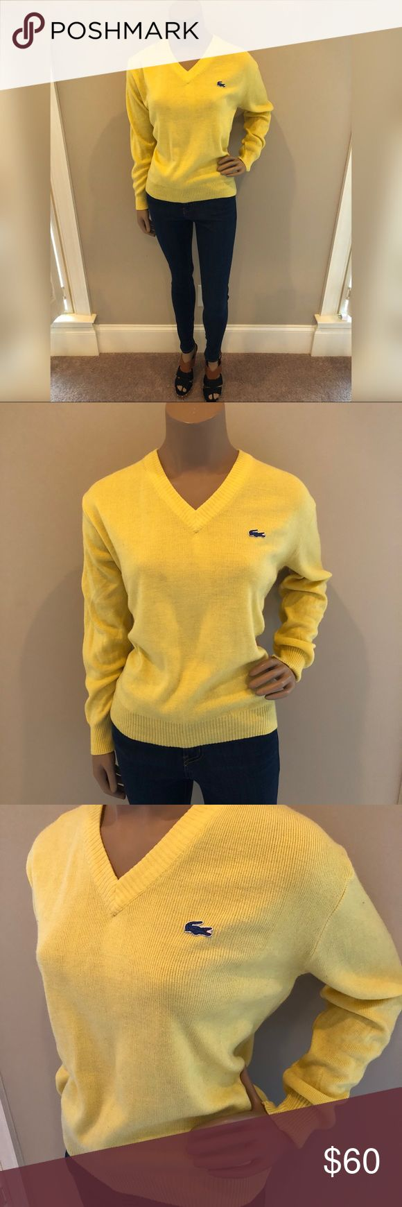 VINTAGE Yellow LACOSTE sweater - Hong Kong 🇭🇰 This is a VINTAGE (50s/60s) V Neck Yellow Sweater by Lacoste. Blue alligator  Fits a women's size small- medium Made in British Crown Colony of Hong Kong. These garment labels are typically from the late 1950s and early 1960s!!  100% Acrylic  Condition: **The sweater has light wear throughout but looks great overall. However there is a small flaw/ hole on the side under arm (pictured)!!!** Lacoste Sweaters V-Necks