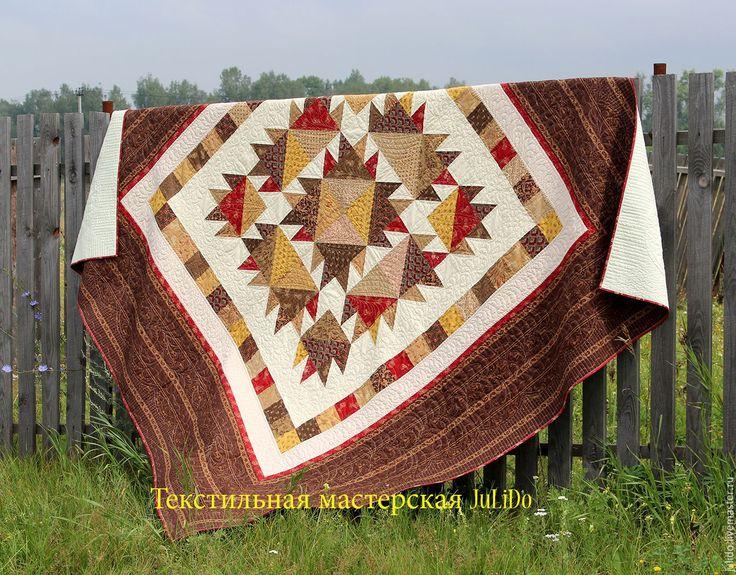 """Купить Лоскутное одеяло """"Вишневый кекс"""" - коричневый, лоскутное одеяло, стеганое одеяло, лоскутный плед"""