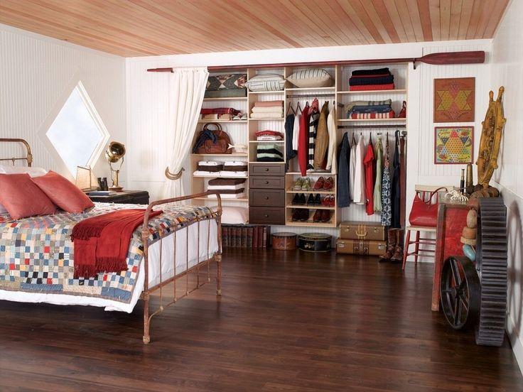 гардеробная комната в интерьере спальни