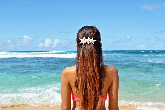 Triple White Knobby Starfish Mermaid Barrette - Bridal Accessories, Wedding Hair Clip, Destination Beach Wedding, Bridal Headpieces on Etsy, $15.50