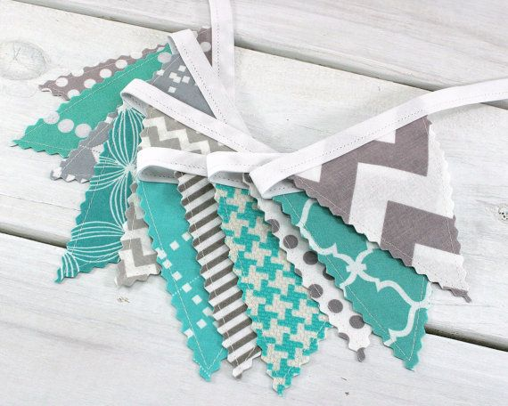 Mini Bunting Banner, Fabric Banner, Fabric Flags, Baby Nursery Decor - Teal Blue, Tiffany Blue, Mint Green, Turqouise, Gray, Grey, Chevron