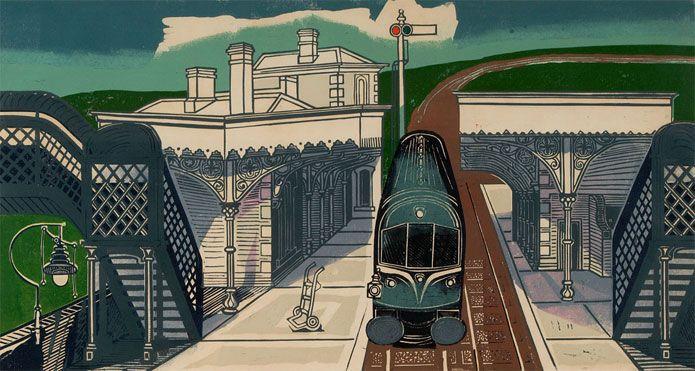 Edward Bawden, Braintree Station lino cut c1960 Great Bardfield Artists group Essex