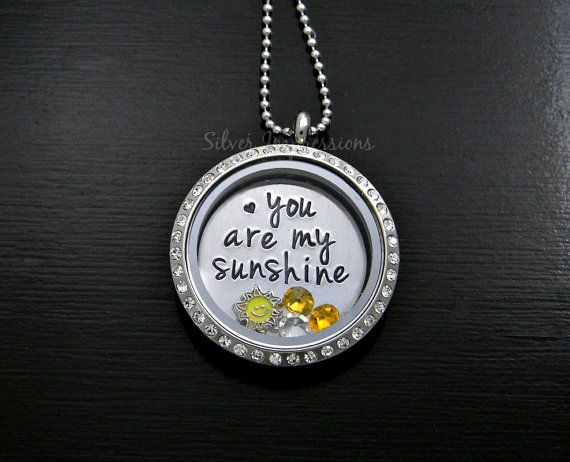 You are my sunshine Floating Locket / You are my Sunshine Necklace / Grandmother Necklace / Personalized Locket, Hand Stamped Jewelry and More by Silver Impressions